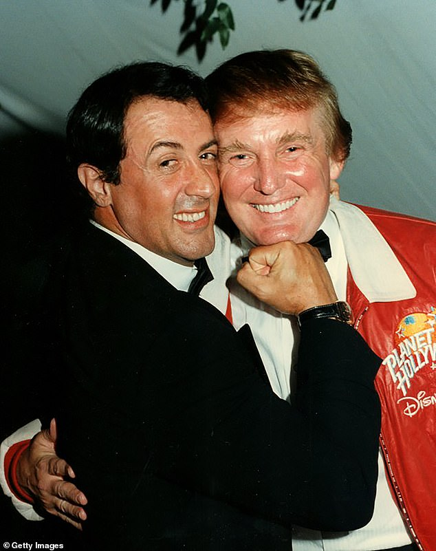 In 2016, Stallone was quoted as saying that Trump was a 'bigger than life' figure though he stopped short of saying he voted for him. Stallone and Trump are seen above in February 1997