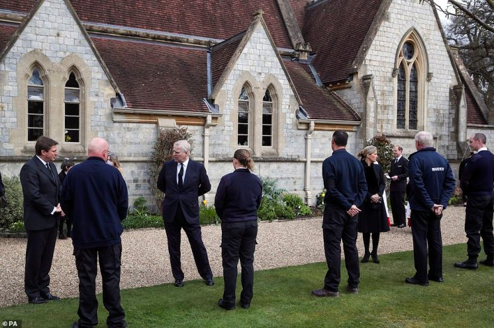 The Duke of York (third left) and the Countess of Wessex talk with Crown Estate staff as they attend the Sunday service at the Royal Chapel of All Saints at Royal Lodge, Windsor