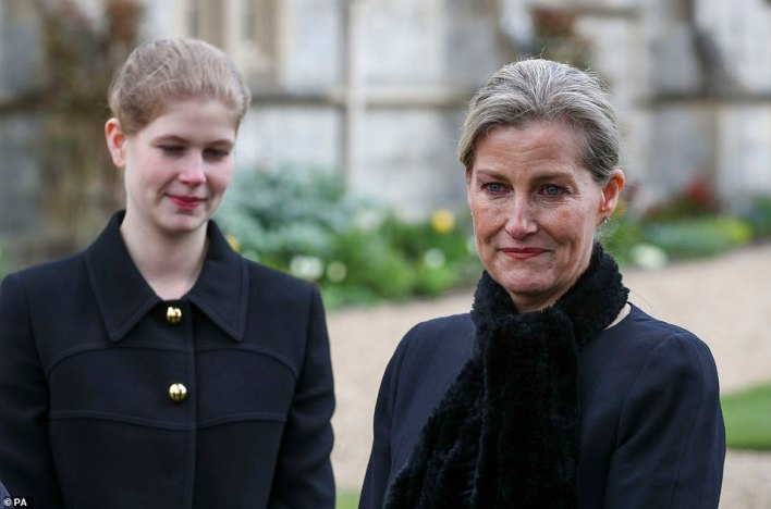 Speaking of her father-in-law's last moments, Sophie (pictured with Lady Louisa) added: 'It was so gentle. It was just like somebody took him by the hand and off he went. It was very very peaceful and that's all you want for somebody isn't it'