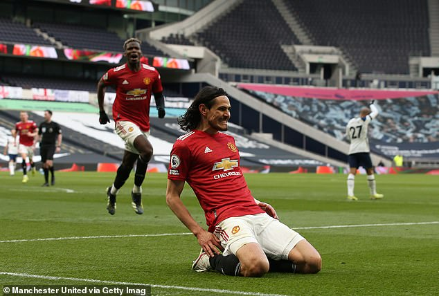 Cavani was on target late on with a header to edge United in front and pile the misery on Spurs