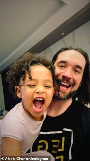 Cute!  Williams' three-year-old husband Alexis Ohanian Sr. instastated himself on Sunday morning by making faces with their daughter Alexis Olympia.