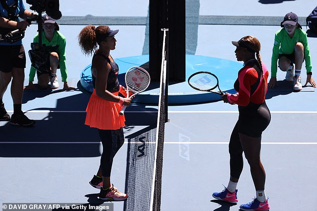 23-time Grand Slam winner: Williams lost to Naomi Osaka of Japan (L, pictured February 18) - again - in the Australian Open semi-finals in Melbourne in February