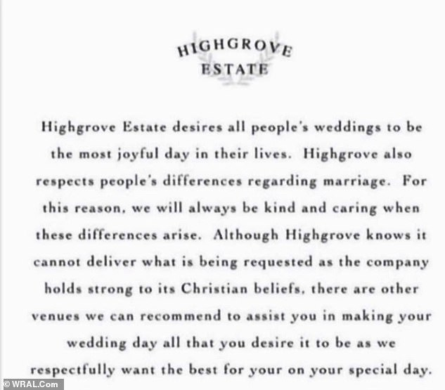 A post on Highgrove's Instagram page explaining why he rejects same-sex couples