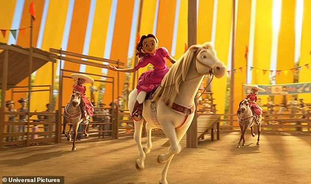Charreadera: González following voices, stunt rider Milagro Navarro (M) in DreamWorks' animated film Spirit Untamed, which hits US theaters on June 4 and in UK theaters on July 30