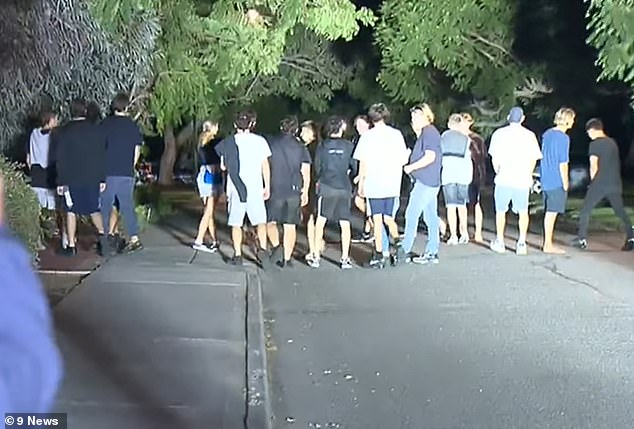 Pictured: Guests crowding on the street outside Sebastian's home after police shut down the party