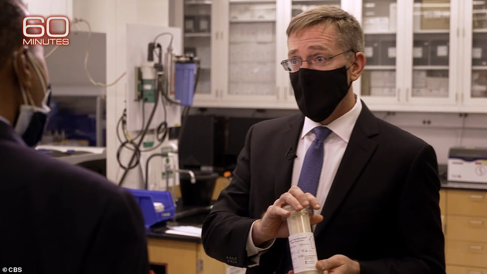 Hepburn shows off a filter attached to a dialysis machine and removes the virus from blood