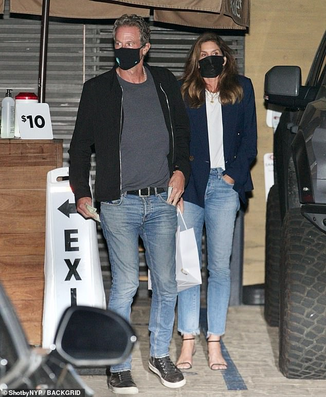 Time for them: Cindy Crawford and Rande Gerber were spotted leaving Nobu in Malibu on Sunday evening