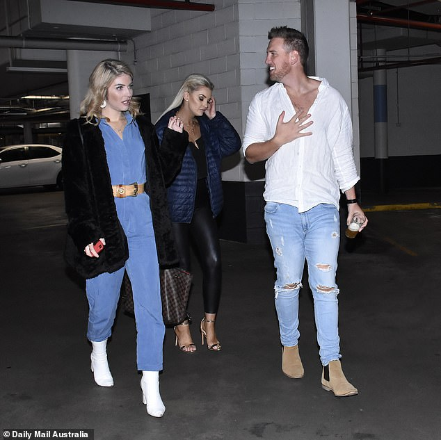 Support: Liam spoke to Daily Mail Australia on Sunday while celebrating his 30th birthday in Canberra with co-stars Booka Nile (left) and Samantha Harvey (right)