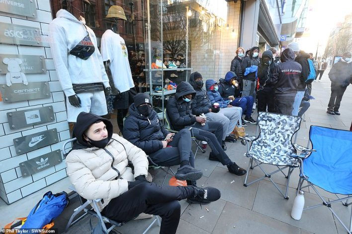 In Manchester, shoppers brought camping chairs to wait in a queue outside the Arndale Shopping Centre to ensure they were first in line