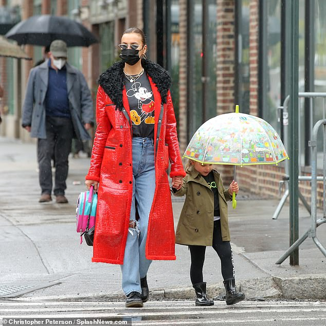Just the two of us: Irina Shayk left for lunch Sunday with her four-year-old daughter Lea in New York's West Village.