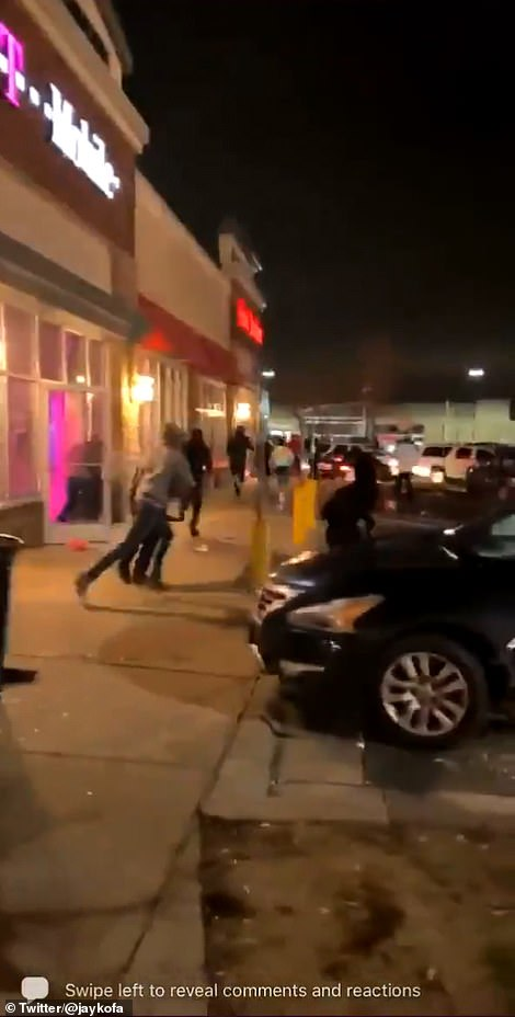 As night fell, looters targeted some area establishments