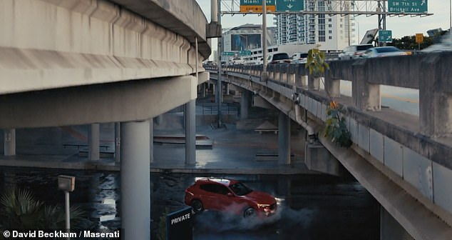 Impressive: David was seen spinning the vehicle under a Miami freeway