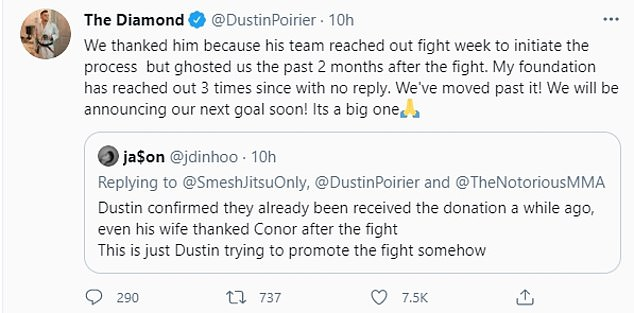 Poirier then said the 'Good Fight Foundation' contacted three times without a response.