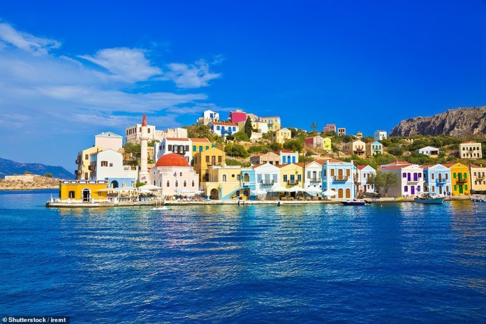 A real shot in the arm: The colourful Kastellorizo harbour. The island was the first to benefit from the blanket vaccination scheme