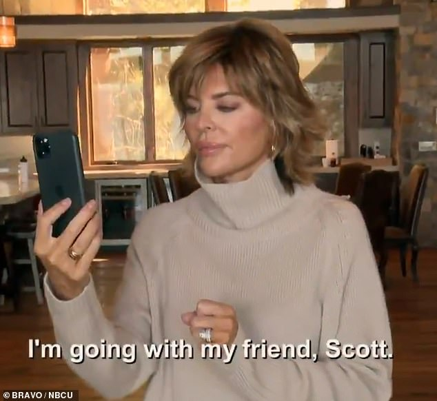 Say what now?  Lisa Rinna, 57, is seen taking a FaceTime call from her daughter Amelia, 19, who tells her she is going on a date with Scott Disick, 37, whom she calls her 'friend ''