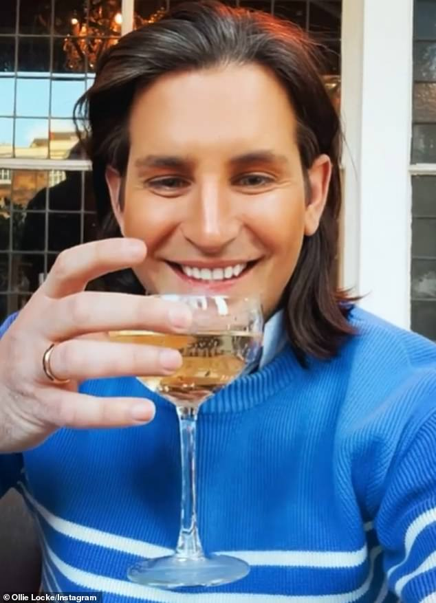 Bubbles:Various Made In Chelsea cast members were also out and about, with the likes of Ollie Locke sipping some prosecco with a grin on his face