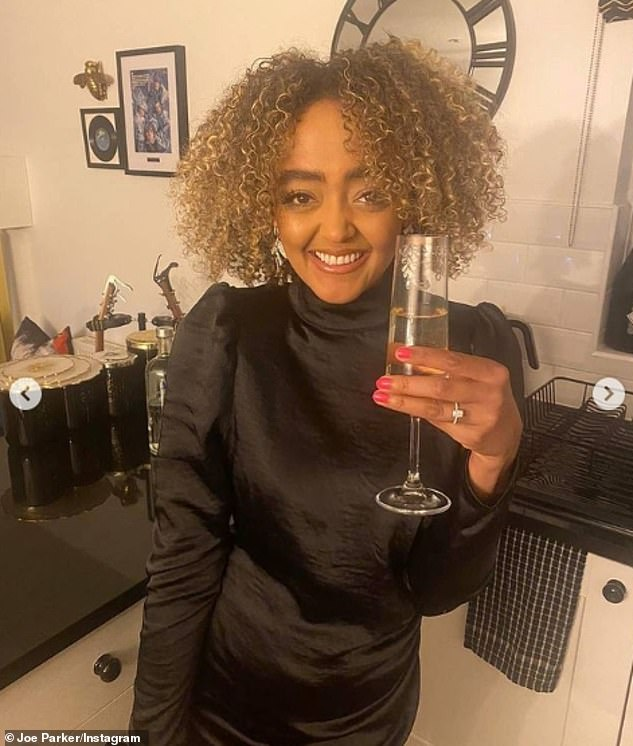Cute: While documenting the occasion on Instagram, Coronation Street star Alexandra, 27, showed off her dazzling new diamond admitting she was smiling so much her face ached