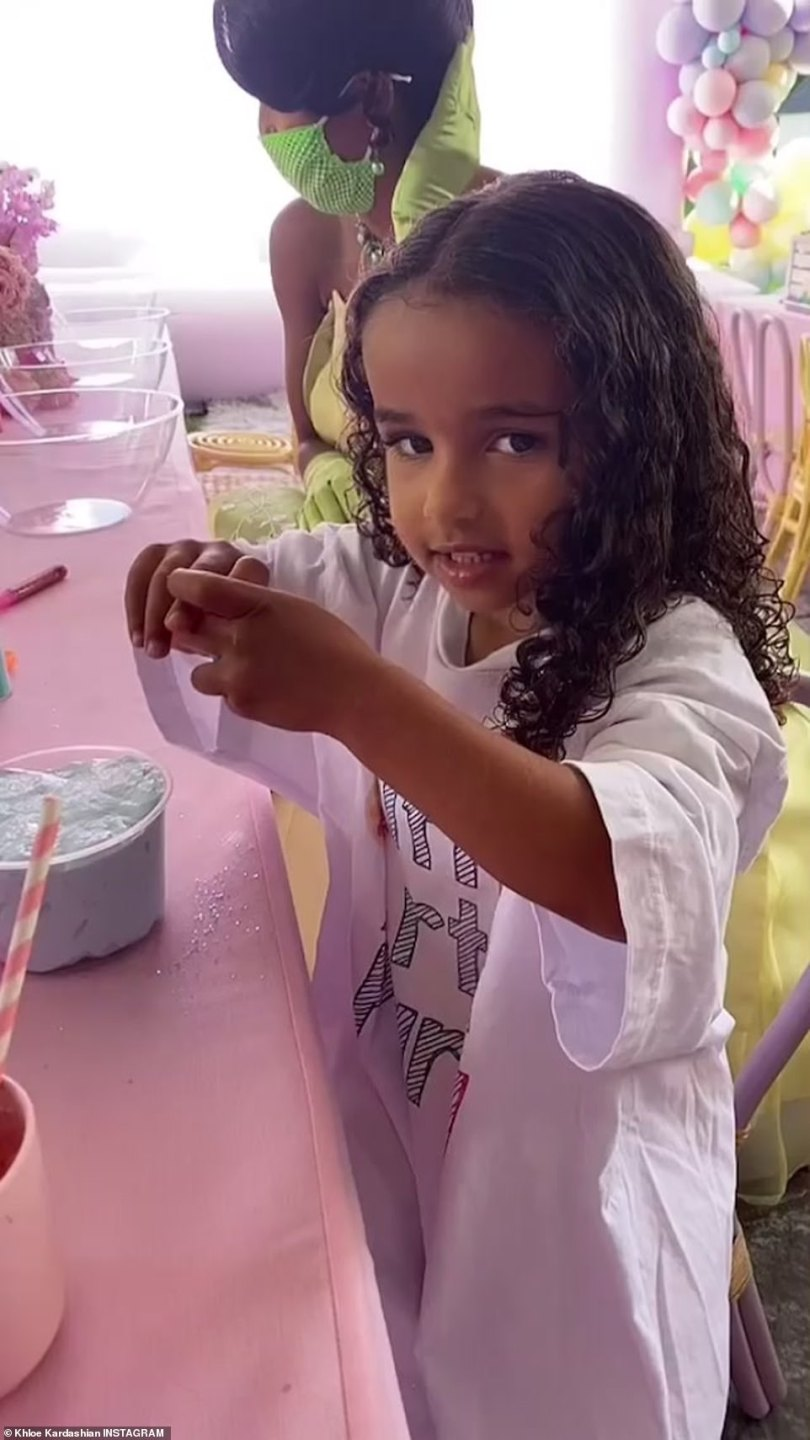 Beaming:In addition to Stormi and Saint, True's other cousin Dream was seen; Dream is Rob Kardashian and Blac Chyna's four-year-old daughter