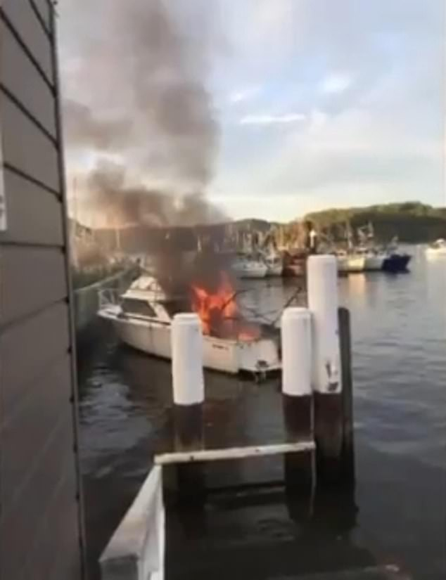 Mirka Tothova's partner Joseph Kwon was standing on the pontoon when the boat erupted into flames (pictured)
