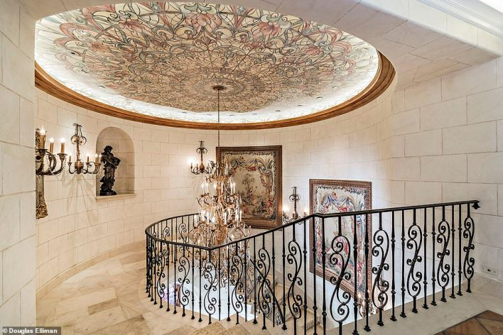 Frescos adorn the walls and ceilings of the luxurious $80 million mansion in North Palm Beach