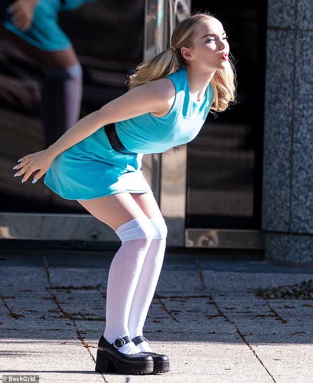 Powerpuff series: Dove Cameron was spotted Monday in her baby blue Bubbles costume while filming Powerpuff in Atlanta