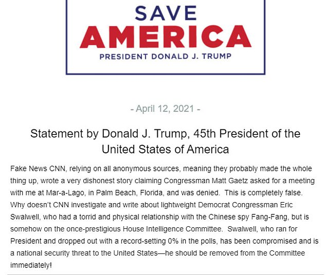 In a statement,Trump said the story was 'dishonest' and 'completely false'