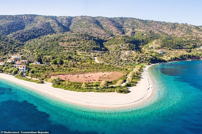 A beach on the island of Alonissos in the Northern Sporades. The island is reached by a 90-minute boat trip from Skiathos