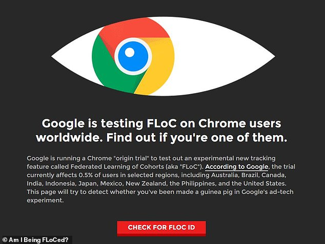 A useful website has been created, called 'Am I FLoCed?', which lets Chrome users know if they are one of the 0.5 per cent of people auto-enrolled in the so-called 'origin trial' of a new advertising technology which will replace cookies