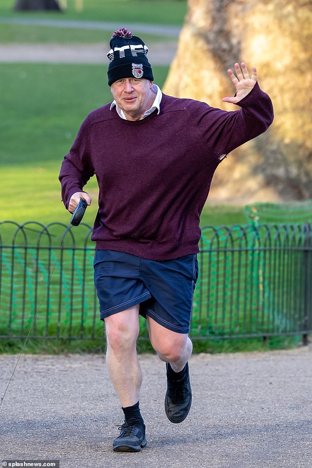 The move, announced at a briefing in Edinburgh, could increase pressure on Boris Johnson (pictured jogging today) to accelerate the pace south of the border