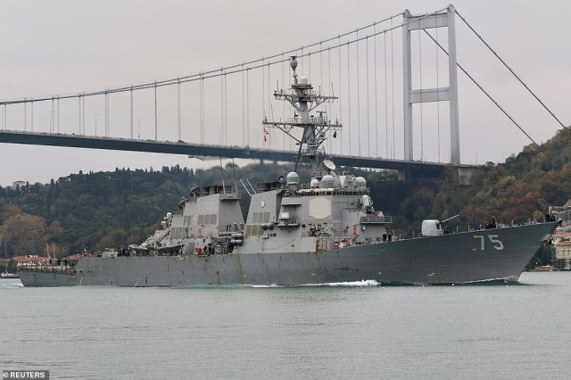 The USSDonald Cook is also thought to be on its way to the Black Sea, and is due to arrive either tomorrow or on Thursday amid a massive build-up of Russian troops