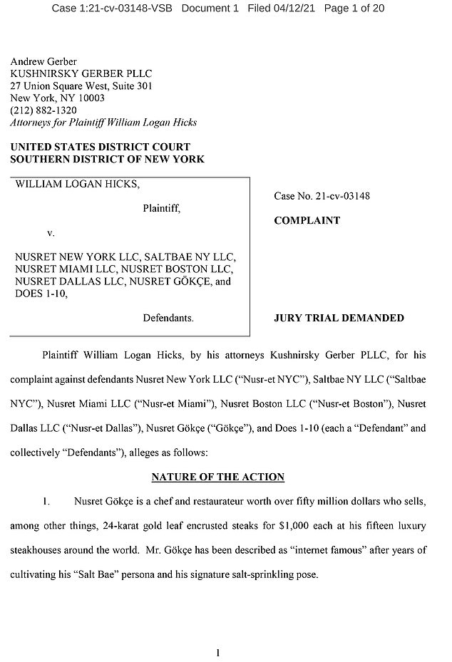 The first page of the case of Hicks and his lawyers