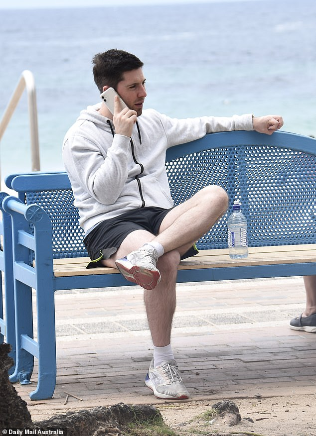 Spotted: Patrick was later spotted taking another phone call while sitting on a bench