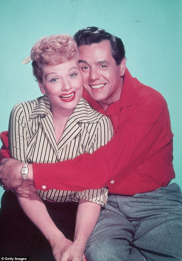 Couple on and off screen: Ball and her husband Desi Arnaz, who married in 1940, played Lucy and Ricky Ricardo in the sitcom I Love Lucy for six seasons from 1951 to 1957 (pictured in 1955)