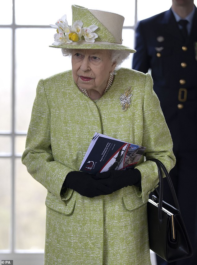 The Queen (pictured in March) today stoically returned to her royal duties four days after the death of her husband, the Duke of Edinburgh, official documents have revealed