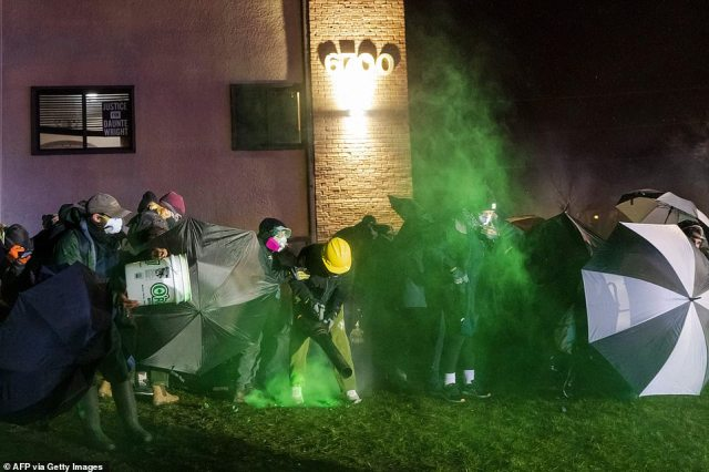More than 200 demonstrators had arrived by early evening. Activists who attended the mayor's news conference called for sweeping changes to the Brooklyn Center Police Department and sharply criticized the acting police chief, Tony Gruenig, for not yet having a plan