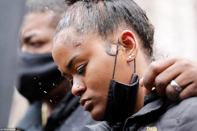 Chyna Whitiker, the mother of Wright's child, during a press conference outside the Hennepin County Government Center