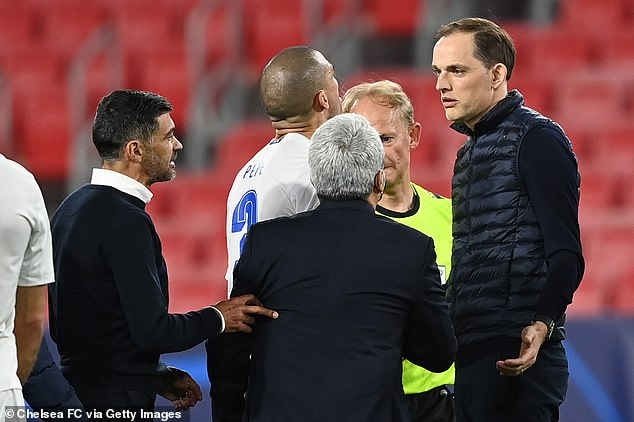 Sergio Conceicao (left) accused Chelsea boss Tuchel (right) of insulting him in the last round
