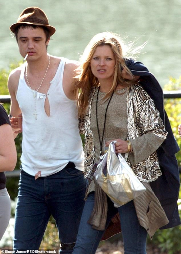 Healthy lifestyle: He's got a new, healthier appearance in recent months since moving to Normandy, France, with girlfriend Katia de Vidas (pictured with ex-girlfriend Kate Moss in 2005)