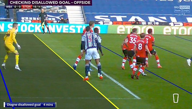 West Brom's Mbaye Diagne scored early on against Southampton but the goal was bizarrely chalked off on Monday night
