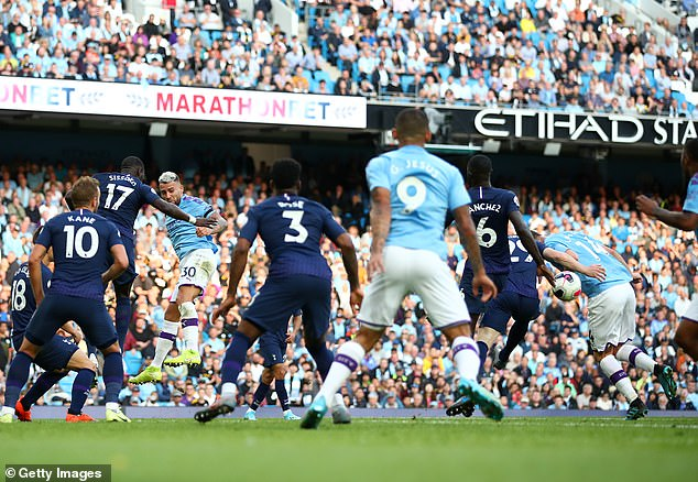 Gabriel Jesus thought he had scored a late winner for Manchester City against Tottenham in August 2019 but the ball had brushed Aymeric Laporte's arm