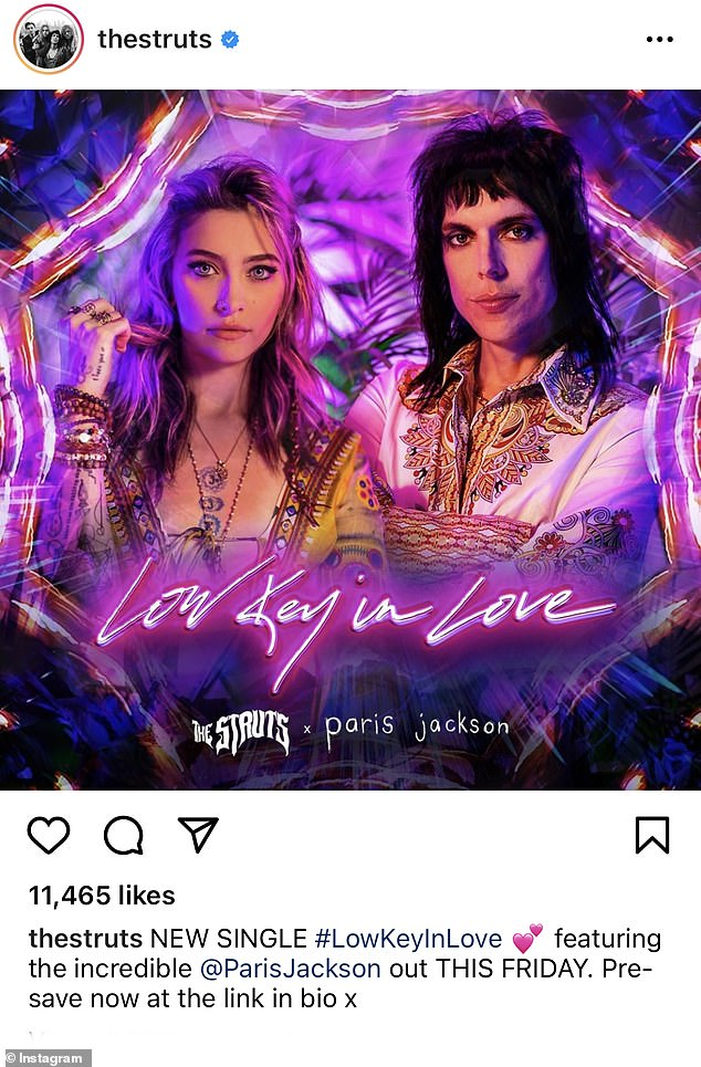 Rock n 'roll: Paris Jackson is featured on The Struts' upcoming single,