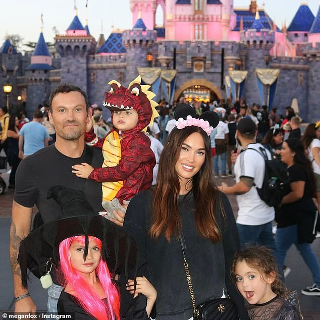 Let him join his family: Megan has three sons, Noah, eight, Bodhi, seven, and Journey, four, whom she shares with ex-husband Brian Austin Green, 47 (pictured above on Instagram)