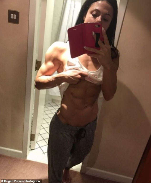 In 2016, Megan pursued a bodybuilding career and documented her fitness transformation in a documentary called Megan Prescott: Dumbbells And Donuts (pictured in 2016)