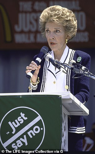 First Lady Nancy Reagan speaking at a Just Say No anti-drug rally on the Mall