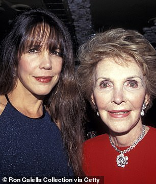 In her own 1992 memoir, Nancy's daughter, Patti Davis (pictured together in 1996) referred to her mother's pill popping habit and admitted she used to steal the tranquilizers Miltown, Librium, Valium and Quaaludes from her her bathroom