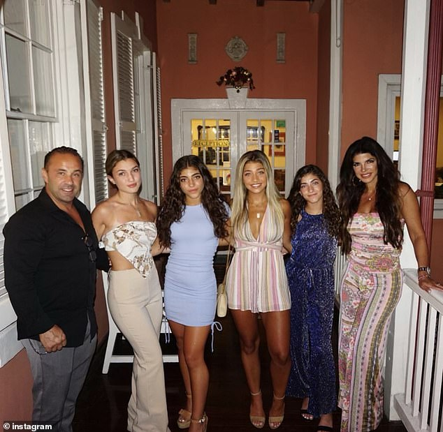 Unique situation: Teresa recently vacationed in the Bahamas with her four daughters ¿Gia, Gabriella, Milania and Audriana ¿and her ex-husband, on a holiday that also included Luis