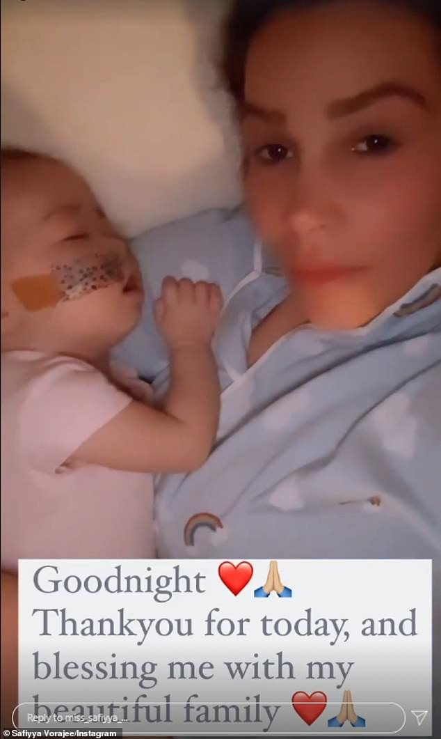 Sweet:Safiyya later shared another photo withAzaylia and said: 'Thank you for today, and blessing me with my beautiful family'