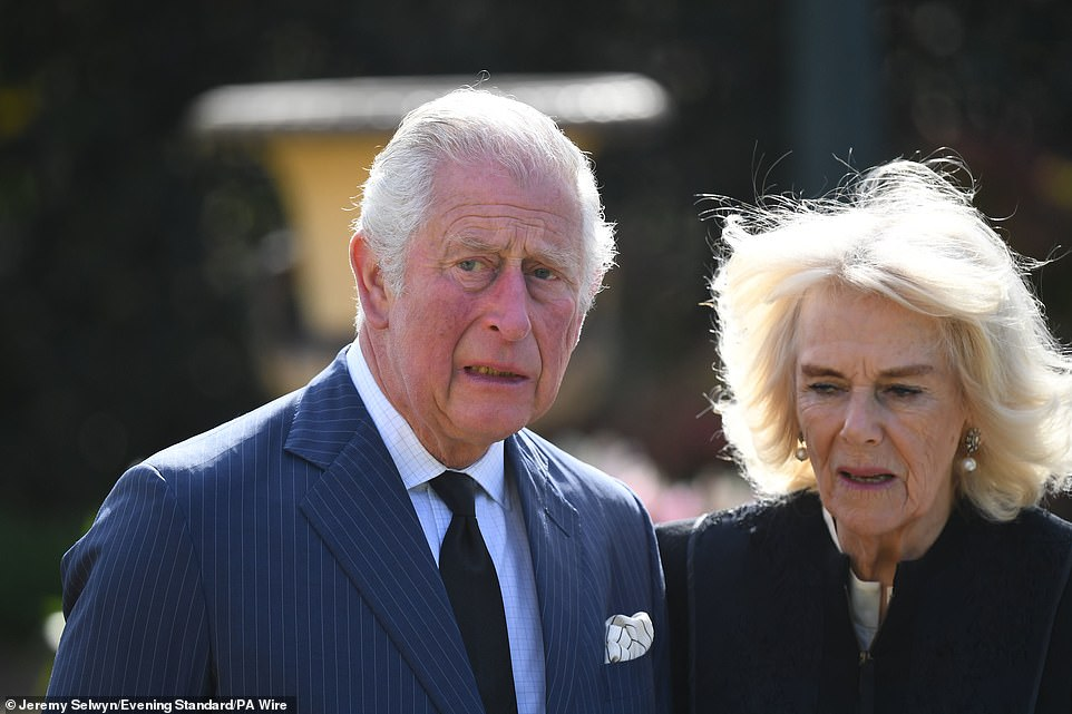 The Prince of Wales and his wife were emotional as he views the tributes with the Duchess of Cornwall at Marlborough House today