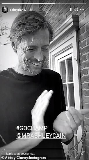 Support: Abbey was joined by her husband Peter Crouch alongside three of their children, and in her video Abbey wrote '#GoChamp'