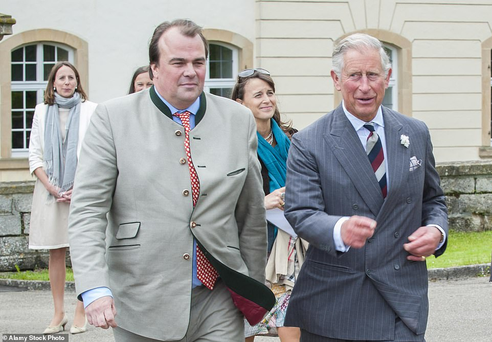 Prince Philipp of Hohenlohe-Langenburg, pictured with Prince Charles, said: 'It really is an incredible honour and we are all extremely touched and privileged to be included on behalf of the wider family'